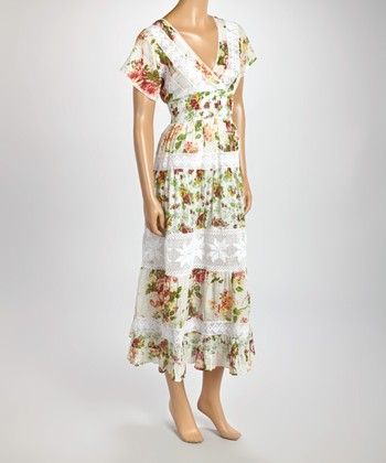 Green & White Floral Lace V-Neck Dress