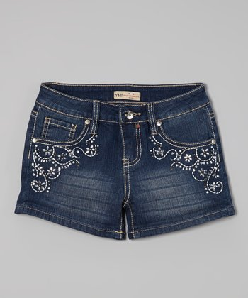 Medium Wash Floral Embellished Denim Shorts