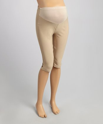 Beige Mid-Belly Maternity Capri Pants