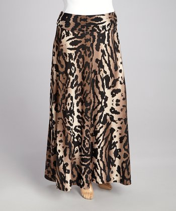 avital black beige cheetah maxi skirt plus zulily