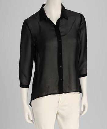 Black Semi-Sheer Hi-Low Button-Up