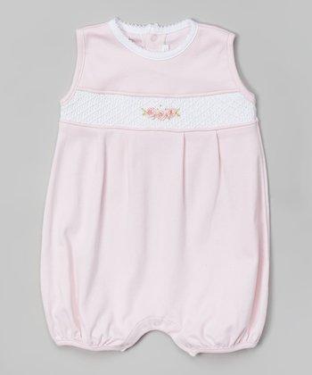 Pink Floral Smocked Pima Bubble Romper - Infant