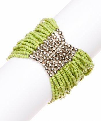 Lime New York Bead Stretch Bracelet