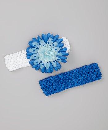 Royal Blue & White Designer Daisy Headband Set