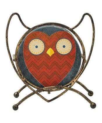 Red Owl Sandstone Coaster Set