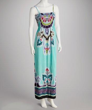 Sea Green Abstract Tribal Smocked Maxi Dress - Women