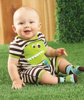 Brown Stripe Dino Pajama Set - Toddler
