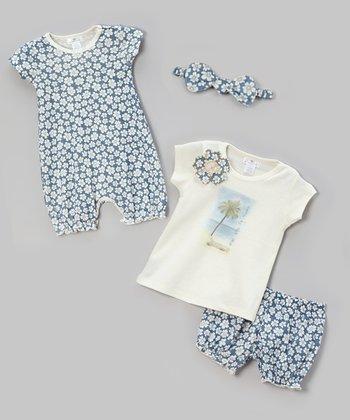 Blue Fancy Floral Romper Set - Infant