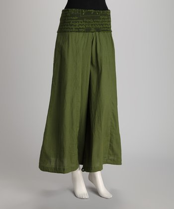 Olive Wide-Leg Pants
