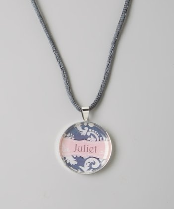 Gray & Pink Swirl Personalized Pendant Necklace
