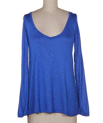 Blue Bell-Sleeve Burnout V-Neck Top - Women