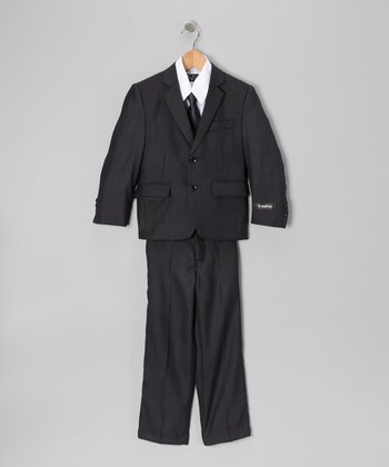 Deep Gray & White Five-Piece Suit - Toddler, Boys & Husky