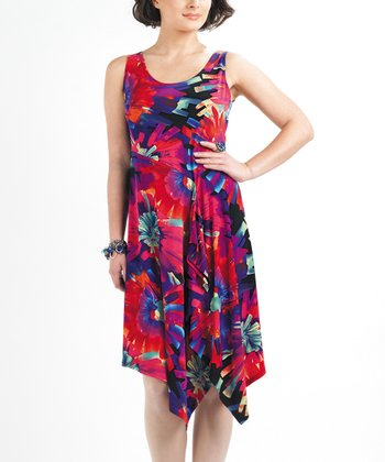 Red & Blue Floral Watercolor Ruffle Sleeveless Dress - Women