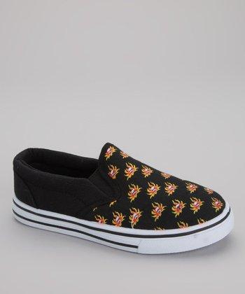 Black & Orange Flame Slip-On Sneaker