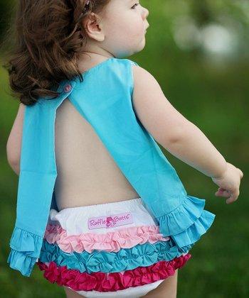 White Rainbow Ruffle Diaper Cover - Infant