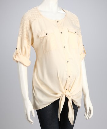 Natural Tie-Front Maternity Top