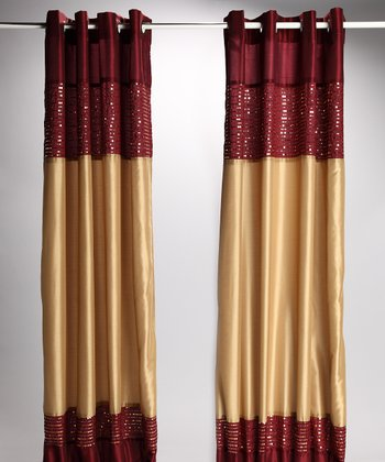 Burgundy Gold Xanadu Lined Curtain Panel Set Of Two