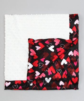 White & Black Hearts Satin Minky Receiving Blanket