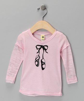 Baby Pink Ballet Shoe Layered Tee - Infant, Toddler & Girls