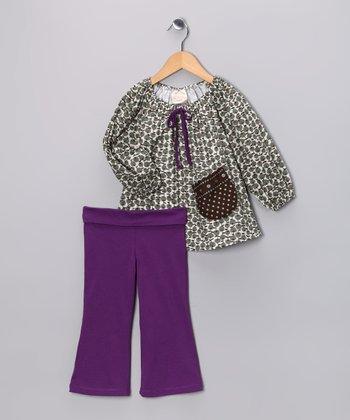 Olive Apple Swing Tunic & Purple Pants - Toddler