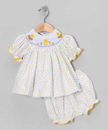 Yellow Chick Smocked Top & Bloomers - Infant