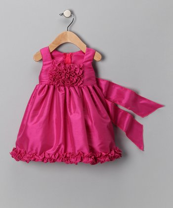 Fuchsia Ruffle Sash Dress - Infant