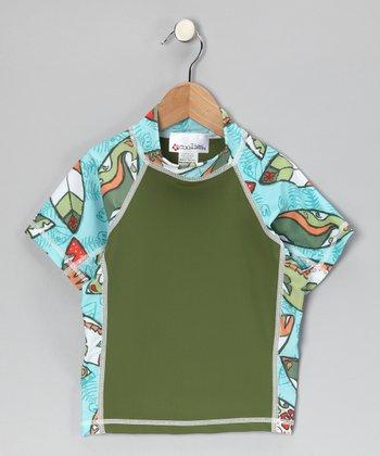 Olive Fishtail Short-Sleeve Rashguard - Kids