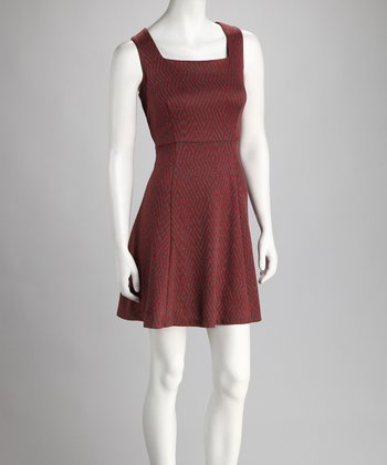 Red & Gray Square Neck Dress