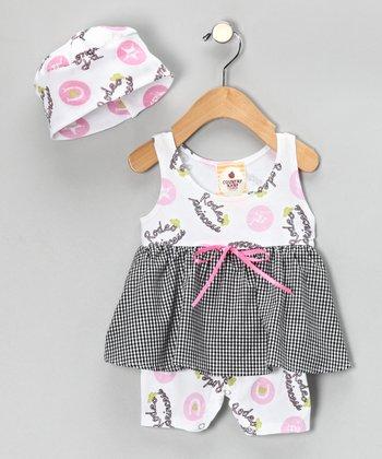 White 'Rodeo Princess' Skirted Romper & Beanie - Infant