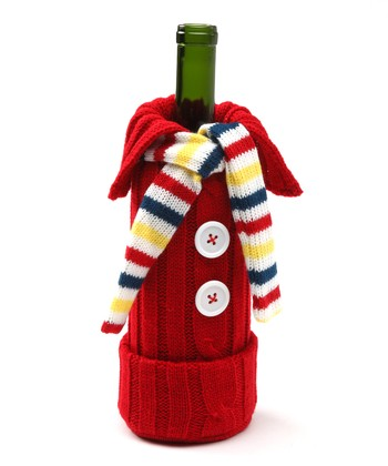 Knitting Pattern Wine Bottle Cover : DEI Red & Yellow Knit Sweater Wine Bottle Cover zulily