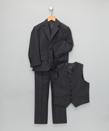 Charcoal Three-Piece Suit Set