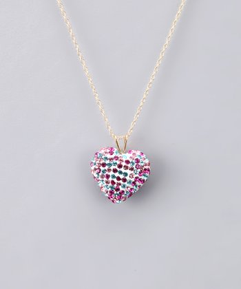 Pink & Blue Crystal Heart Necklace - Women