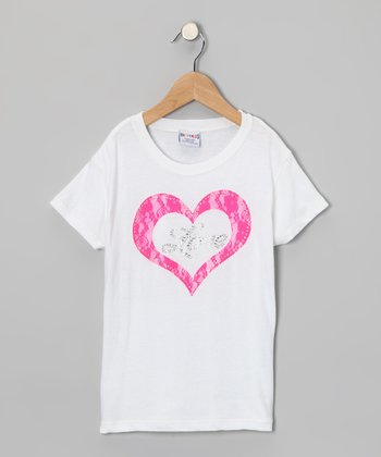 White & Pink Heart Tee - Girls
