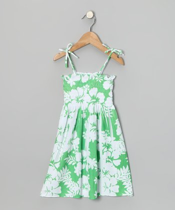 Lime Hawaiian Shirred Dress - Toddler & Girls