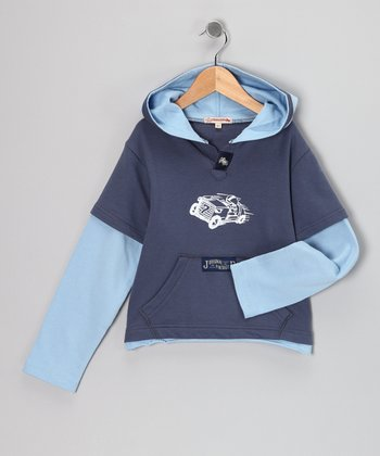 Dark Blue Taxi Layered Hoodie - Infant & Toddler