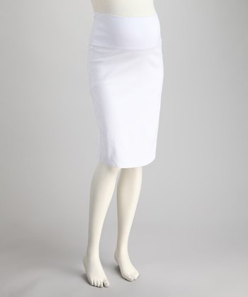 White Sarah Mid-Belly Maternity Pencil Skirt