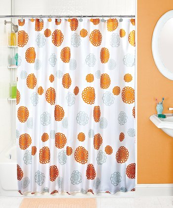 Orange Gray Floral Shower Curtain Zulily
