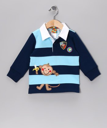 Navy & Light Blue Stripe Monkey Polo - Infant & Toddler