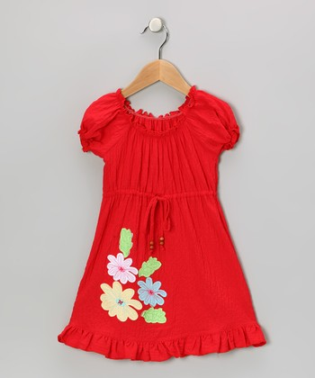 Red Flower Patch Peasant Dress - Toddler & Girls