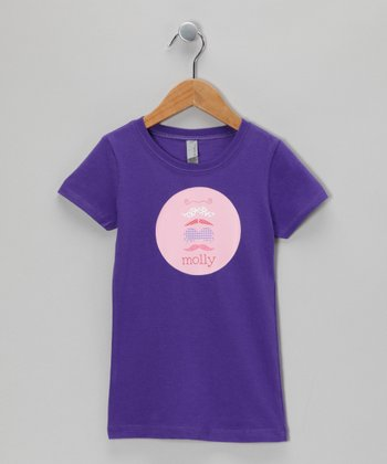 Purple Mustache Party Personalized Tee - Girls