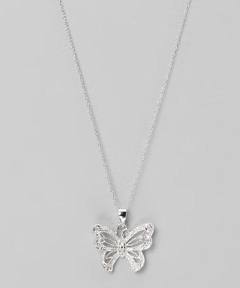 Diamond & Sterling Silver Butterfly Pendant Necklace