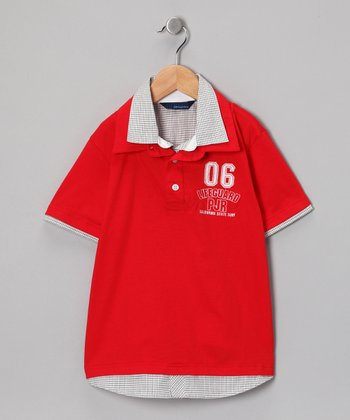 Red & Gray Vin Polo - Toddler & Boys