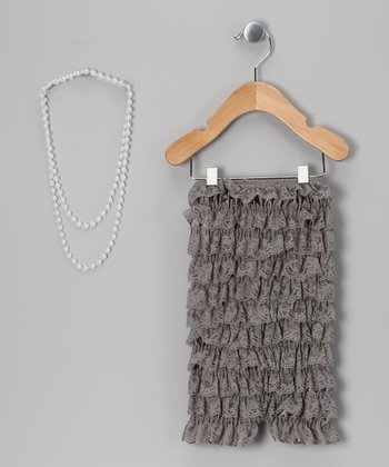 Silver Lace Romper & Pearl Necklace - Girls