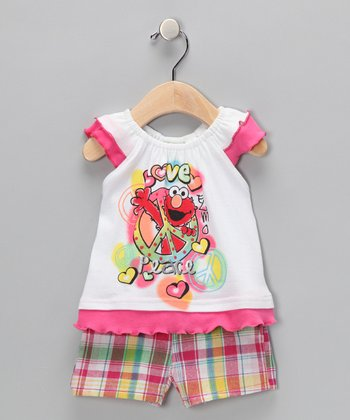 Pink Plaid 'Elmo' Angel-Sleeve Top & Shorts - Infant & Toddler