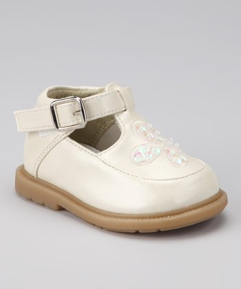 Beige Sequin Kami T-Strap Shoe