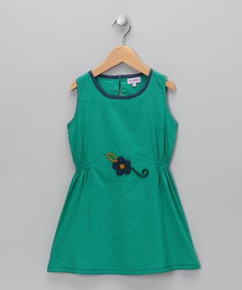 Sugar Green Pinched Flower Dress - Infant, Toddler & Girls
