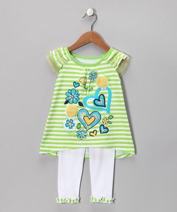 Green Heart Tunic & White Leggings - Infant