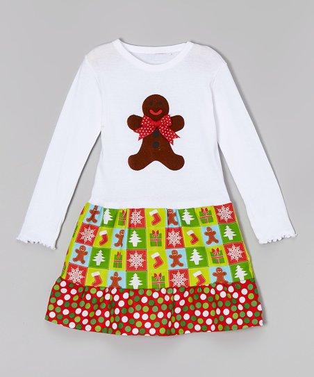 7784903d1d8c beary basics white & green gingerbread man libby ann dress toddler & girls