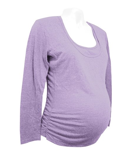 Bun Purple Gathered Maternity/Nursing Scoop Neck Top