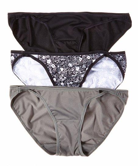 Black & Gray Microfiber String Bikini Briefs Set